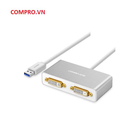 Cáp chuyển đổi USB 3.0 ra 2 cổng DVI Ugreen UG40246