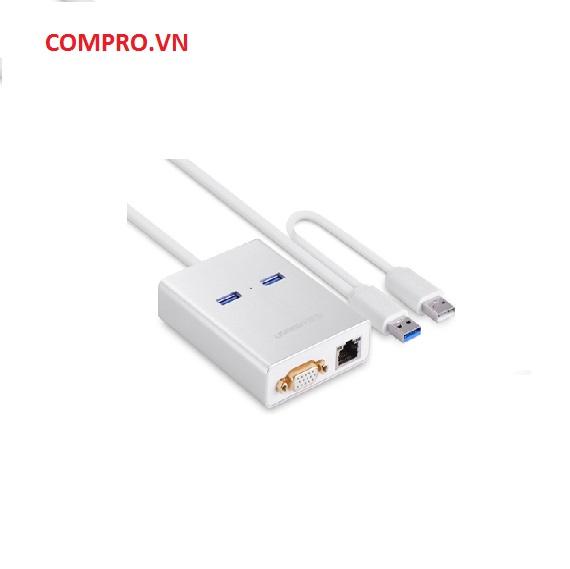 Cáp USB 3.0 to VGA tích hợp 2 cổng USB 3.0 và Lan RJ45 Ugreen UG40242