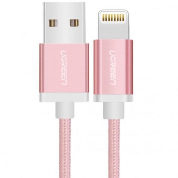 Cáp Sạc USB Lightning Chuẩn MFi dài 1M5 Màu Hồng Ugreen 30591