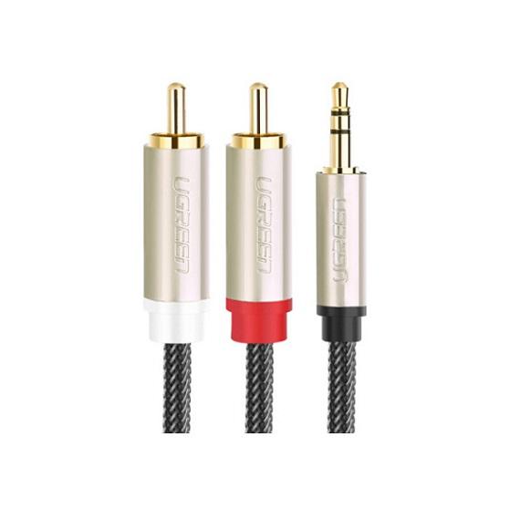 Cáp Audio 3,5mm ra 2 đầu RCA dài 5m chính hãng Ugreen 20825 mạ vàng cao cấp