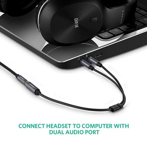 Cáp Audio 3,5mm âm ra 2 đầu 3,5mm 1 Mic 1 loa chính hãng Ugreen 20899 mạ vàng cao cấp