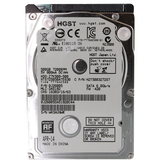 Ổ cứng Notebook HDD HGST 500GB 2.5 inch sata 3 (5400rpm)
