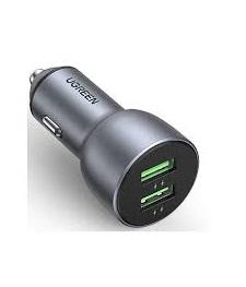 Ugreen 10144 QC3.0 36W 2 cổng màu bạc sạc xe chuẩn quick charge 3.0